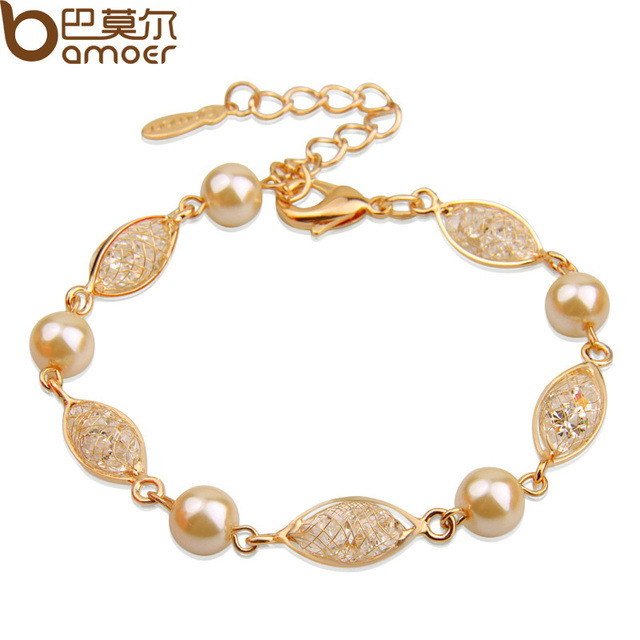 Bamoer Luxury Simulated Pearl Bracelet For Women Champagne Gold Color Cubic Zirconia High Quality Jewelry Jsb020