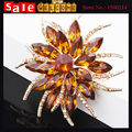 Luxury High-Grade Big Flower Crystal Golden Shine Brooch With Rhinestone for Women Beautiful Bride Wedding Scarf Dress Accessies