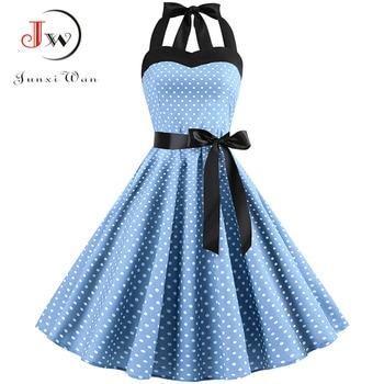 Sexy Halter Party Dress 2018 Retro Polka Dot Hepburn Vintage 50s 60s Pin Up Rockabilly Dresses Robe Plus Size Elegant Midi Dress 3