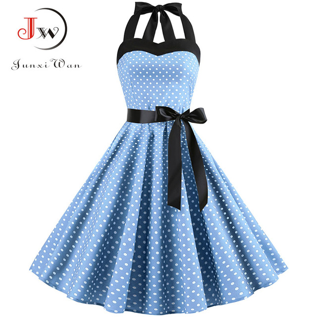 Sexy Halter Party Dress Retro Polka Dot Hepburn Vintage 50s 60s Pin Up Rockabilly Dresses Robe Plus Size Elegant Midi Dress 3
