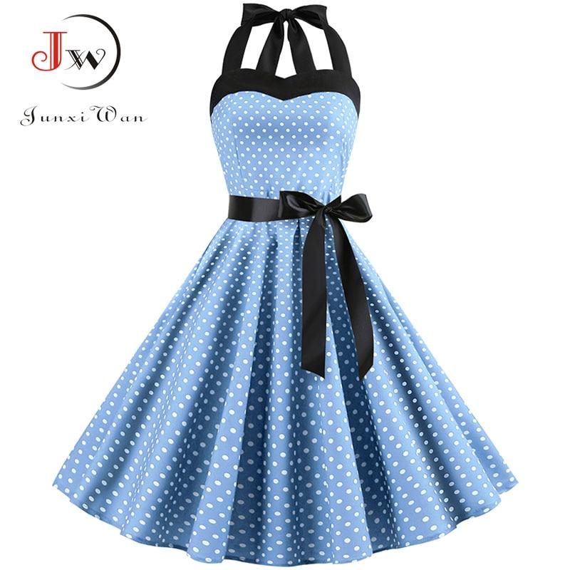 2019 Polka Dot Halter Vintage Dress 50s 60s Gothic Pin Up Rockabilly Dress Plus Size Robe Femme Sexy Retro Party Dress