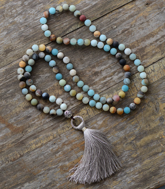Vintage Necklace Unique 8MM Matte Amazonite Tibetan Charm Cute Tassel Necklace Women Beaded Designer Necklaces Dropshipping