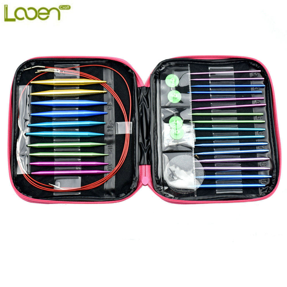 Looen Brand 26pcs/set Aluminum Change Head Detachable Circular Knitting Needle Ring Set DIY Tools For Home Sewing Needle crafts