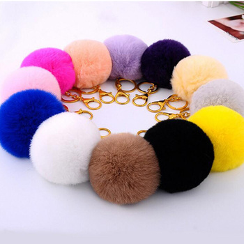 Real Fur Ball 8.5cm Pompom Keychain Car Keyring Rabbit Fur Ball Keychain Fur Brand Pompons Bag Charms With Chains Keyring