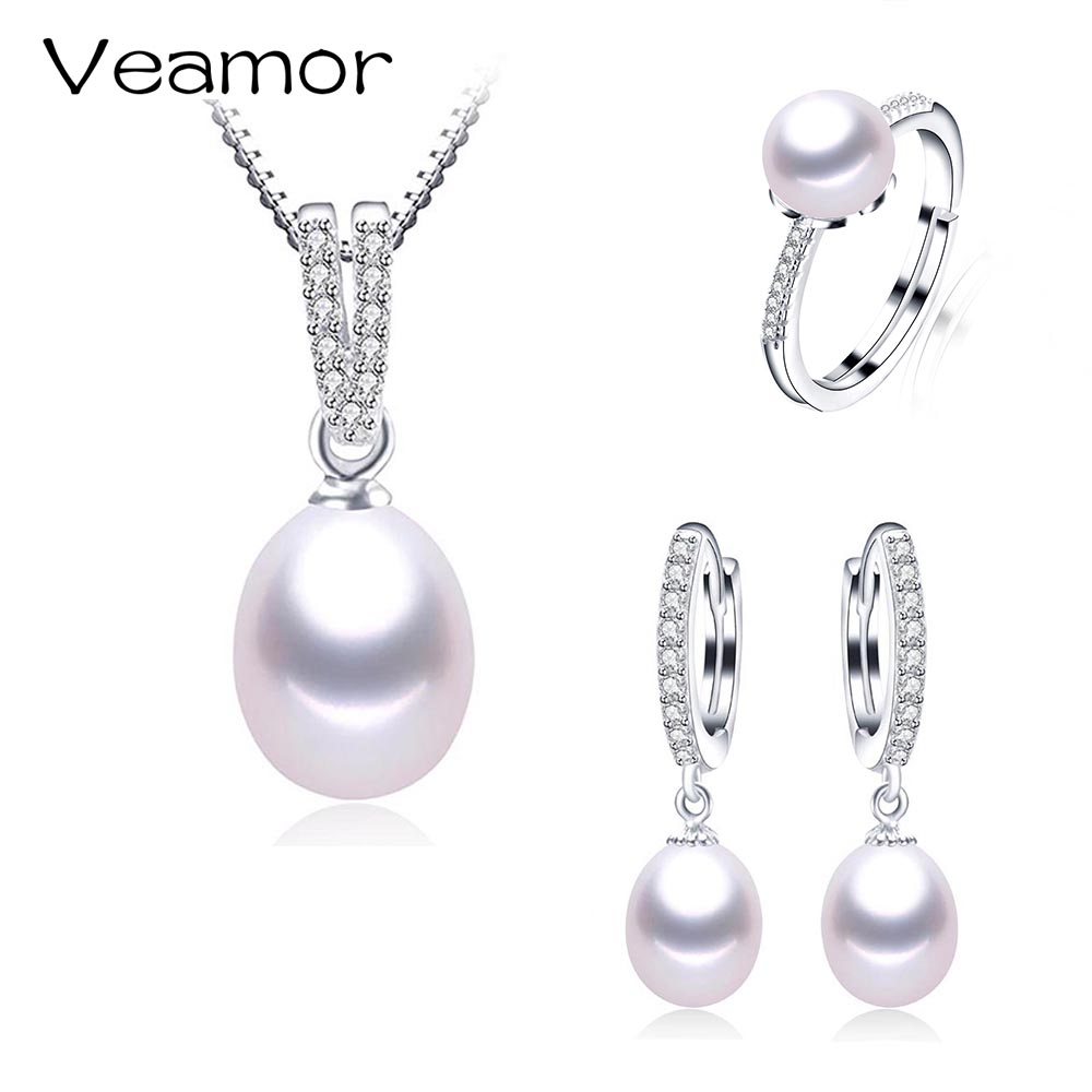 2017 New Brand 925 Sterling silver Jewelry sets Natural Pearl Ring Engagement Pendant Fashion Wedding Necklace For Women