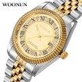 WOONUN Famosa Marca de Lujo de Relojes de Oro Hombres de Bling Del Diamante Cristalino de Cuarzo Relojes Para Hombres Hombres Fecha Reloj Romano Clásico Reloj