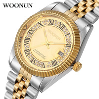 WOONUN Famous Brand Luxury Gold Watches Men Bling Crystal Diamond Quartz Watches For Men Male Date