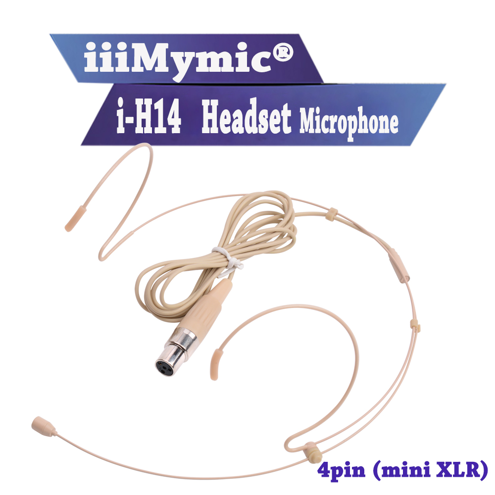 IiiMymic i-H14! Pro Condenseur Serre-Tête Casque Microphone Pour Shure Sans Fil Corps-Pack Émetteur mini 4pin XLR TA4F Connecteur