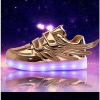 2017 Yeni Kızlar Aydınlık LED Işık Ayakkabı Melek Kanatları Ayakkabı Erkek Rahat Ayakkabı LED USB Şarj Parlayan Snearker Çocuk Sneakers