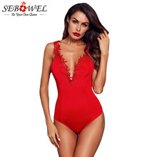 SEBOWEL Womans Black/Red Crochet Lace Bodysuit Sleeveless Deep V Skinny Sexy Body Tops for Female Summer 2019 Plunge Bodysuits