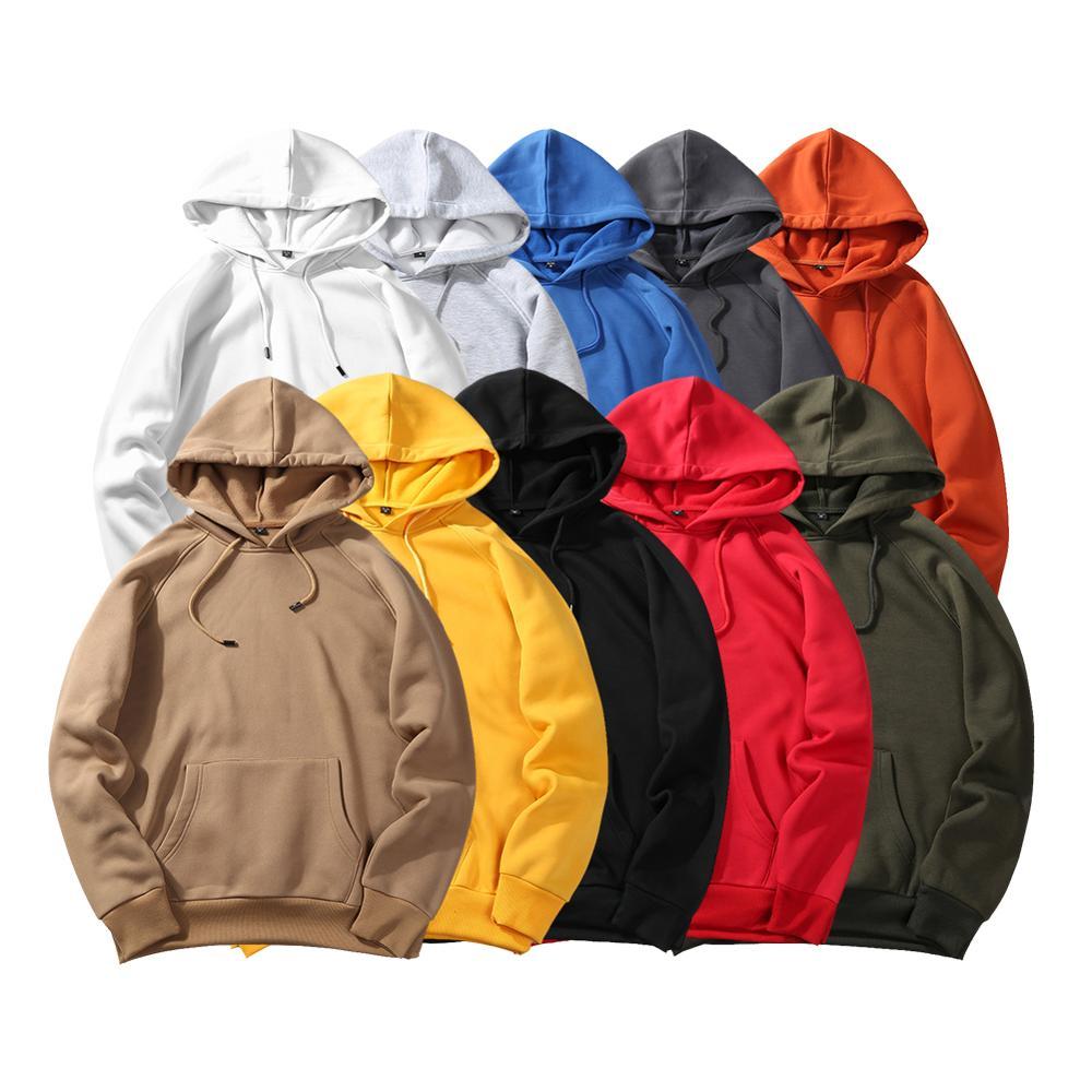 2019 Casual Men's Hoodies Autumn Winter Coat Male Hoodies Solid Color Tops Men Hip Hop Street Wear Sweatshirts Skateboard Hooded