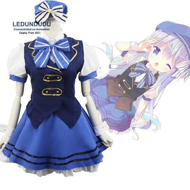 Gochuumon wa usagi desu ka Cosplay Costumes Kafuu Chino Lolita Sailor Suits is the order a rabbit Kawaii Bunny Uniform Full Set