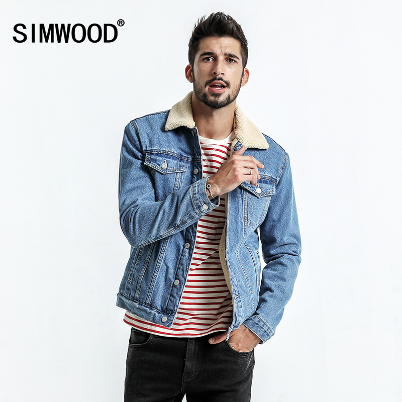 SIMWOOD 2018 Winter Faux Fur Denim Jacket Men Slim Fit Coats Fashion Vintage Brand Clothing 100% Pure Cotton Plus Size NK017007