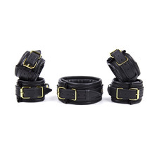 Sex Shop hot 3 pcs set leather adult sex handcuffs Shackle collar sex bdsm fetish bondage