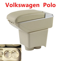For Volkswagen VW Polo 9N/9N3 02 09 Vivo 10 Dual Layer Car Armrest Cup Holder Center Centre Console Storage Box Tray Leather