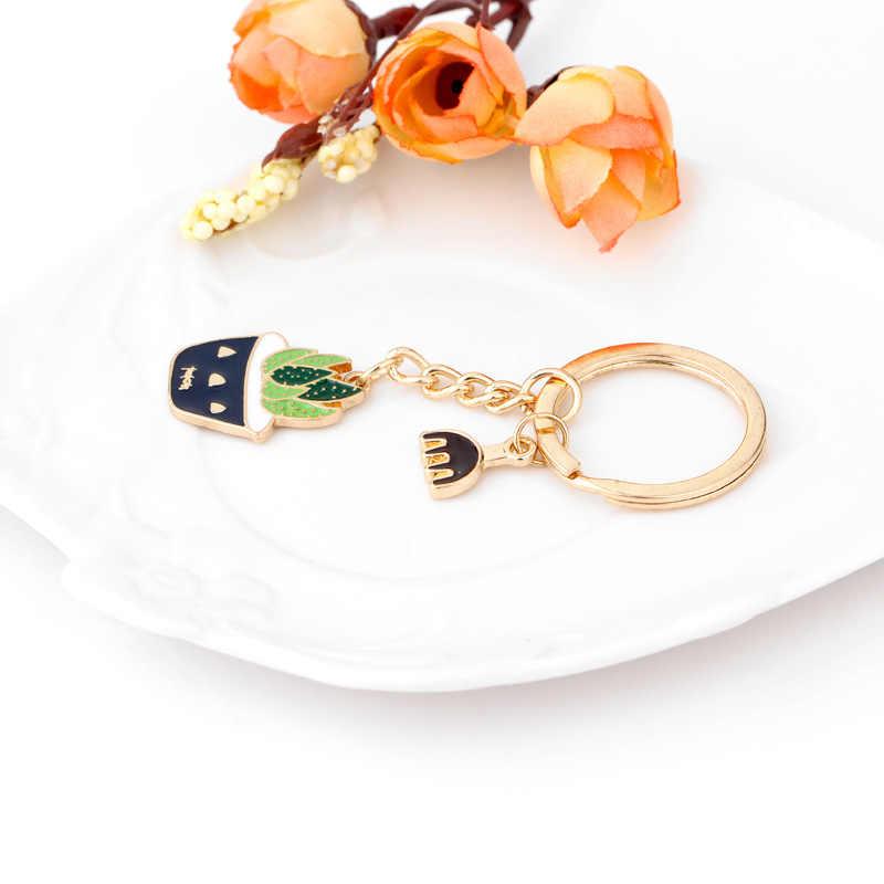 ... Colorful Cute Potted Succulents Plant Cactus Enamel Key Ring Keychains  for Women Bag DIY Charm Key ... 25e6bd812