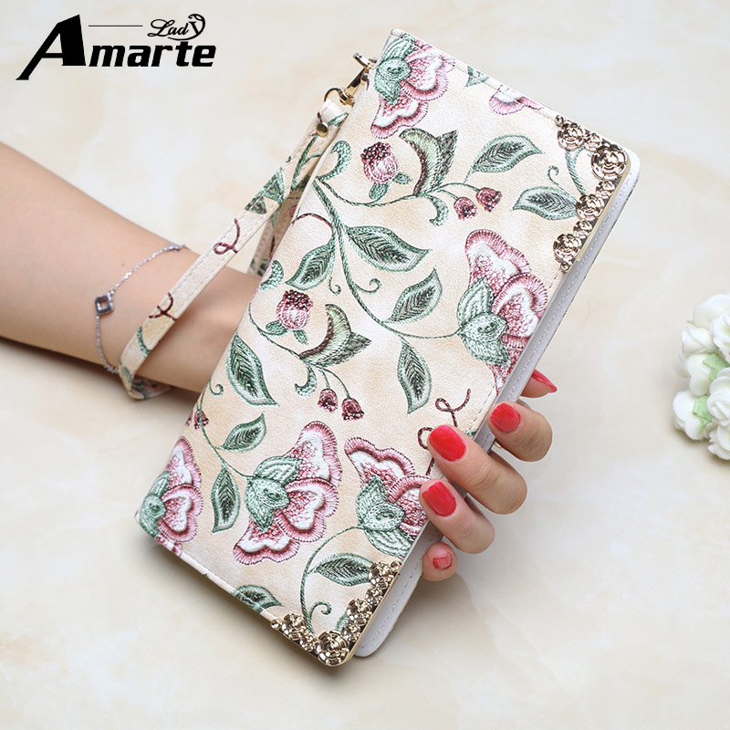 New Design Floral Embroidery Leather Wallets Women Luxury Brand Purses Woman Wallet Long Zipper Female Purse Card Holder Clutch new korea fashion small women wallet and purses luxury brand plaid zipper female wallets leather wallet for girls