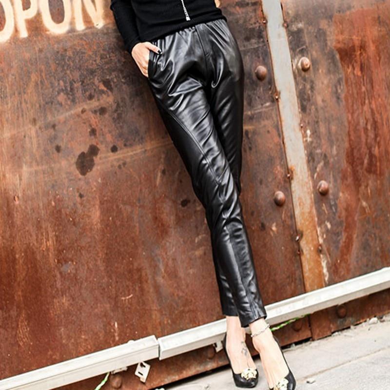 Crayon Haute En Cuir S Pantalon Élastique Femelle 4xl Mode Black Qualité Véritable Cheville longueur De Femmes Luxe Taille Occasionnels Solide JK1Fcl