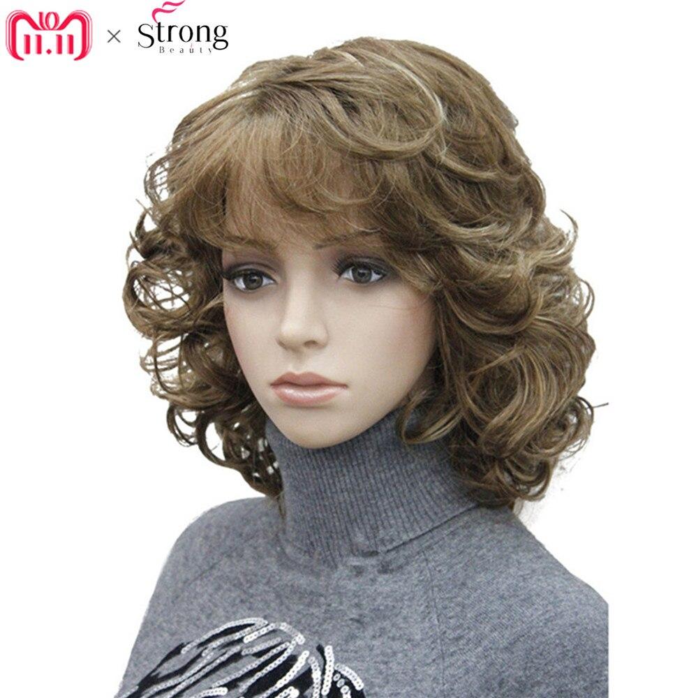StrongBeauty Parrucche Sintetiche delle Donne Naturale Parrucca Riccia Medio Nero/Bionda Parrucchino kanekalon Dei Capelli
