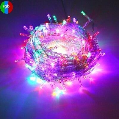 Струнный светильник 100 светодиодный 10 м Рождественский/свадебный/вечерние декоративный светильник s гирлянда AC 110 В 220 В Уличный Водонепроницаемый светодиодный светильник 9 цветов светодиодный - Испускаемый цвет: RGB