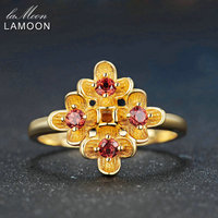 Lamoon 9 Pieces 2 5mm Natural Round Red Garnet Ring 925 Sterling Silver Jewelry 14K Yellow