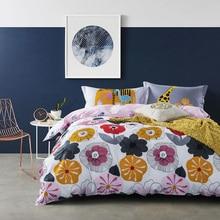 Juego de cama de flores de invierno 100% juego de cama de algodón 4 unids adultos cama floral funda nórdica + hoja plana ropa de cama tamaño queen 2017 sábanas