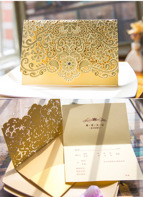 30pcs lot luxury golden wedding invitations elegant weeding