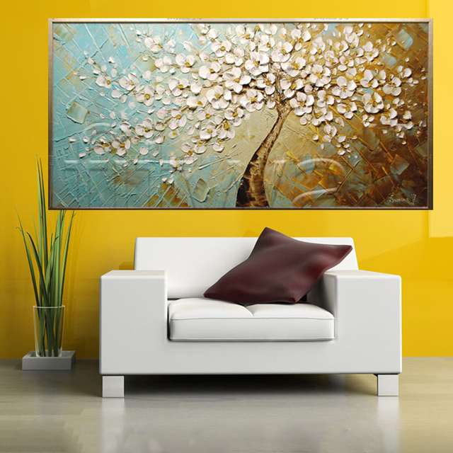 Hand Painted Landscape High Quality Cherry blossoms Palette Knife ...