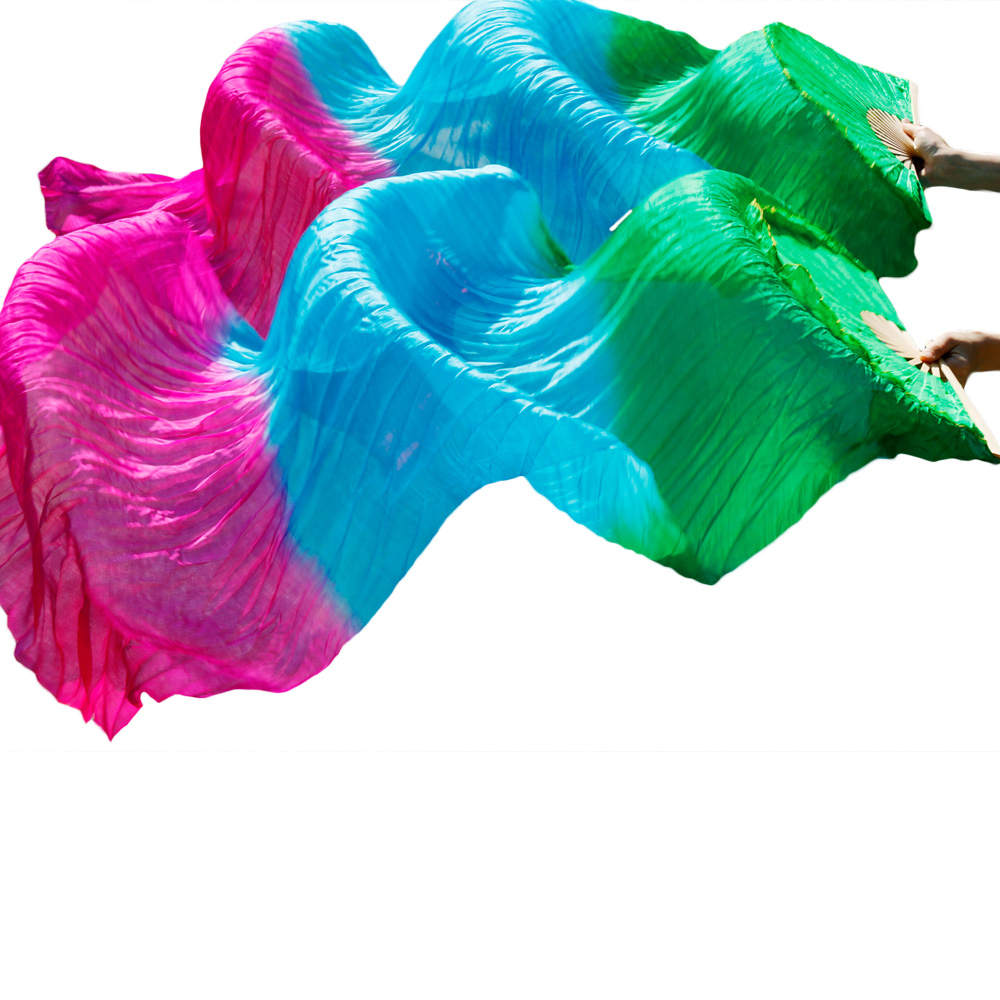 2018 New Arrivals Stage Performance Dance Fans 100% Silk Veils Colored  Women Belly Dance Fans Green+Turquoise+Rose (2pcs)