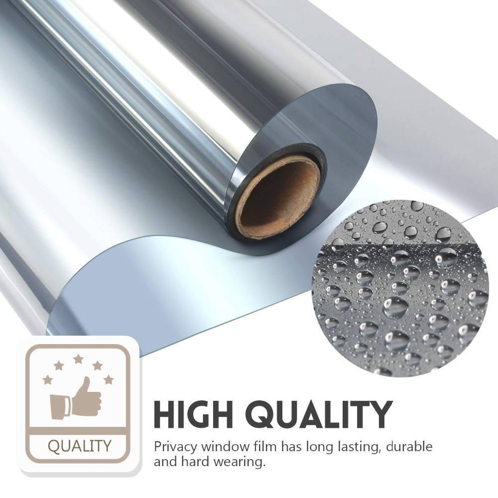 50*500 cm Silver One Way Mirror Window Privacy Film with UV Blocking Heat Control self-adhesive Reflective Glass Tint for Home