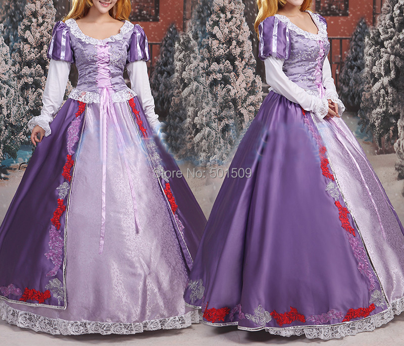 adults womens luxury purple embroidery Rapunzel princess costume ballet princess dress fairy tale dress party/festival