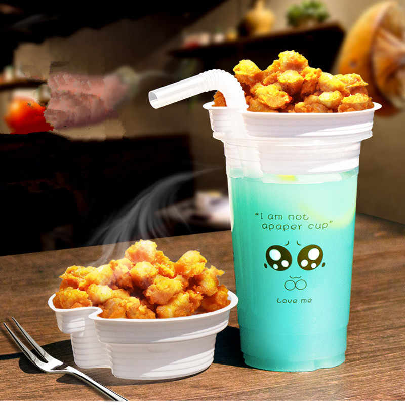 50pcs Disposable coffee cup plastic milk tea steak packaging cups holder snack fried chicken strip fries cola juice cup with lid