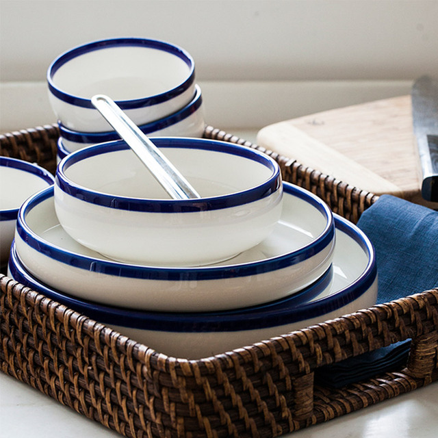 20pcs/set chinabone blue edge Ceramic bowl plates dinnerware sets kitchenware rice bowl dishes salad & 20pcs/set chinabone blue edge Ceramic bowl plates dinnerware sets ...