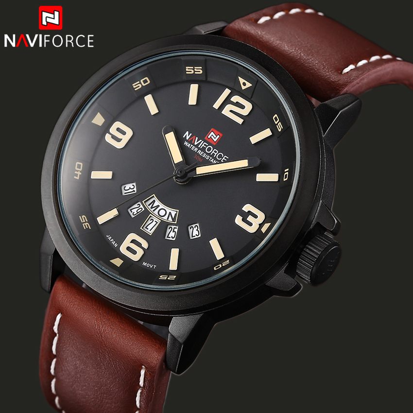 NAVIFORCE Luxury Top Brand Leather Mens Sport Watches Fashion Casual Quartz Watches Men Military Wristwatch Male