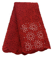 Nigerian bride fabric with plenty beads african lace fabric wine beaded laser cut lace fabric plain color for wedding dress