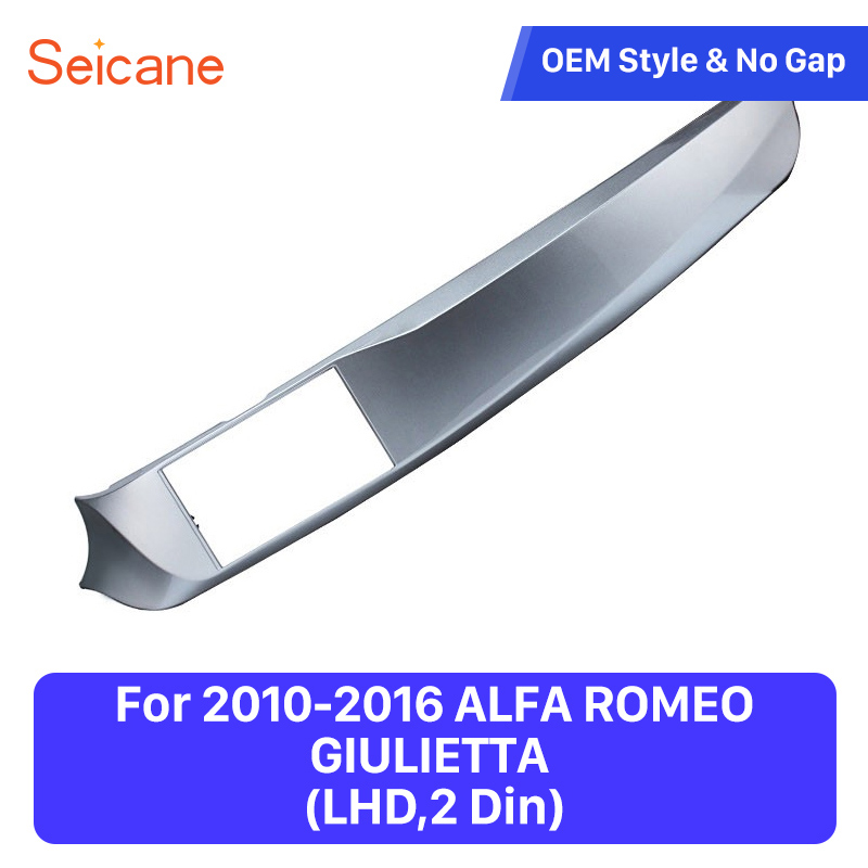 Seicane Left Hand Drive Double Din Car Stereo Frame Fascia for 2010-2016 ALFA ROMEO GIULIETTA Dash Panel Mount Kit