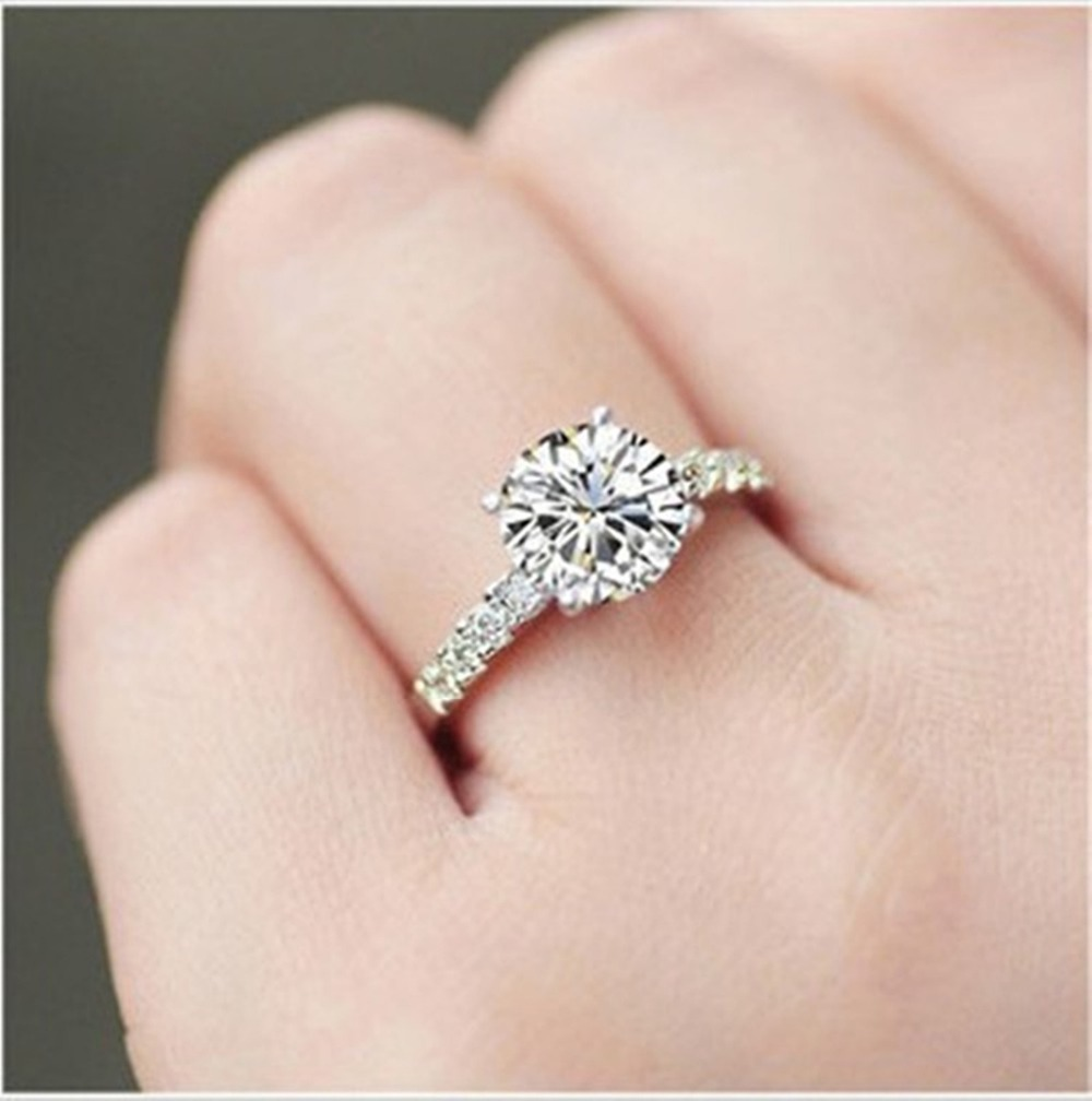 Genuine 14K Gold Ring Pretty Design Brilliant Round 1 Carat Diamond Ring  14K White Gold Engagement Jewelry Genuine 14K-in Rings from Jewelry    Accessories ... e676671601f7