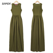 JSMY 2019 New Summer Fashion Women Vest Maxi Dress European and American Solid Color