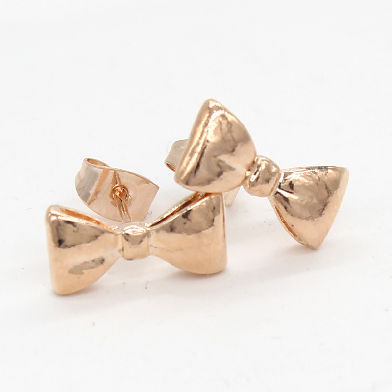 Fashion Cute Bowknot Stud Earrings For Women Little Girls Rose Gold Small Brincos 2018 Piercing Metal Korean Jewelry Earring