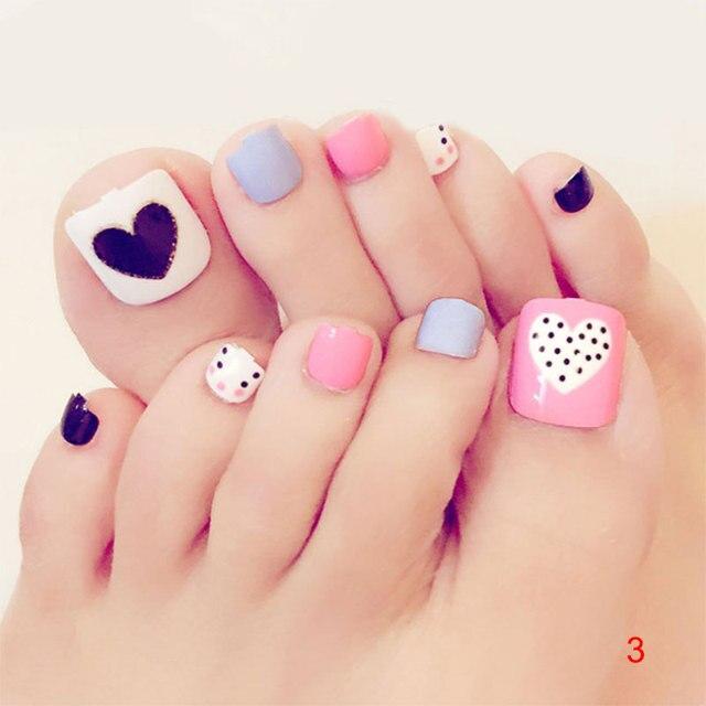 Aliexpress Buy 24pcs Cartoon Kawaii Toe Fake Nails 3d Cute