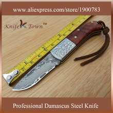 DS030 damascus steel knife with yellow sandal wood and bolster handle utility folding knife camping knife