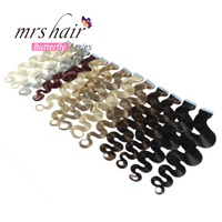 MRS HAIR 18 Body Wave Tape In Human Hair Extensions 20pc Seamless Hair Adhesives Non Remy Hair Skin Weft 613 Strong US Tape Ins