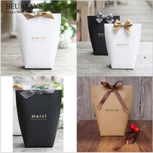 Wholesale free shipping 400pcs DIY gift boxes bags French thanks Merci paper bag folding large box Christmas