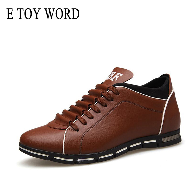 E TOY WORD Autumn Men's Shoes 2018 England Style Men Trend Casual Shoes Men Leather Shoes Breathable Four Seasons Male Shoes tept79001 trend ready letters casual style