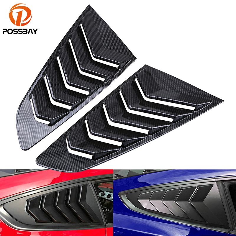 POSSBAY Imitation Carbon Fiber 1 4 Quarter Side Window Scoop Louvers Cover Vent for Ford Mustang