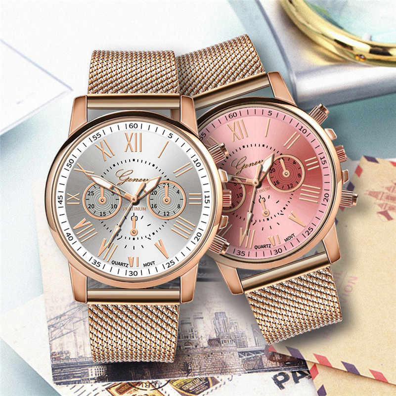 Luxury Quartz Watch Women Leather Band Wrist Watch Fashion Roman Numeral Rose Gold Ladies Watches reloj mujer Relogio Feminino#D