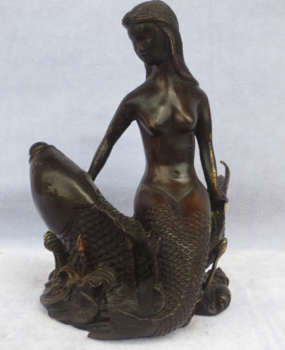 christmas decorations for home+ Chinese Old Copper/brass Carved Beauty Women And Fish Sculpture/ Mermaid Statuechristmas decorations for home+ Chinese Old Copper/brass Carved Beauty Women And Fish Sculpture/ Mermaid Statue