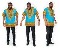 2017 אין צמר O-צוואר בציר הדפסת פשתן קצר אופנה הגעה אפריקאית תלבושות לאומיים, תחליפים גדול גברים חולצות