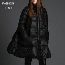 Продажа Корейского Бренда Дизайн Парк Толстая Куртка Женщин Черный Молнии С Длинным Рукавом Высокого Класса Линии Плащ женские Зимние куртки