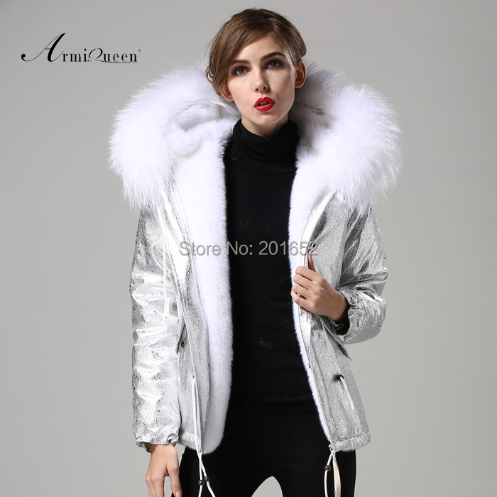 women outerwear silver jacket with big raccon collar fur fashion casual covered button faux fur jacket